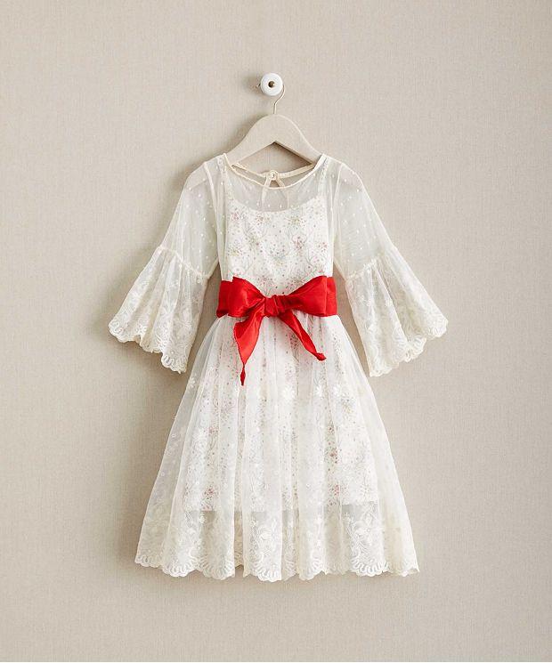 子供 ドレス レース ベルスリーブ スリップドレス セット 花柄 高級 上質 白 長袖 女の子 発表会 衣装 フォーマル