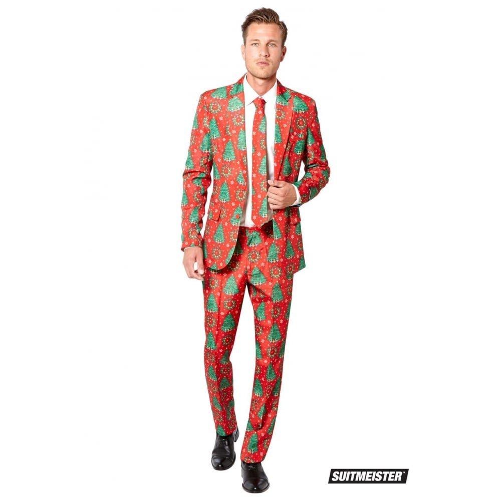 ハロウィン 総柄 セットアップスーツ クリスマス パーティ メンズ おもしろコスプレ コスチューム 赤 冬 SuitMeister