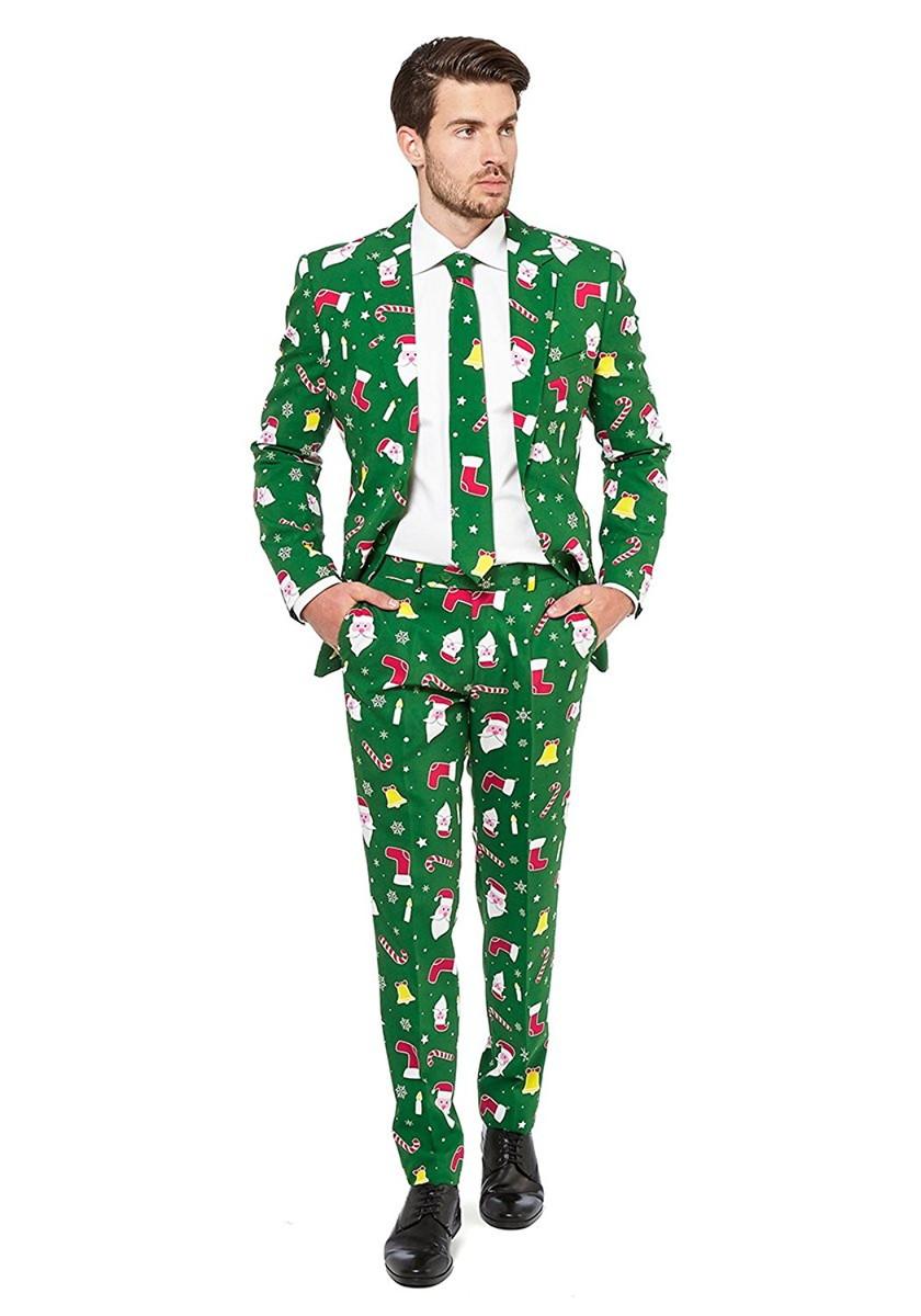 OPPO SUITS オッポスーツ 総柄 セットアップスーツ クリスマス 緑 パーティ メンズ おもしろコスプレ コスチューム ファンシースーツ