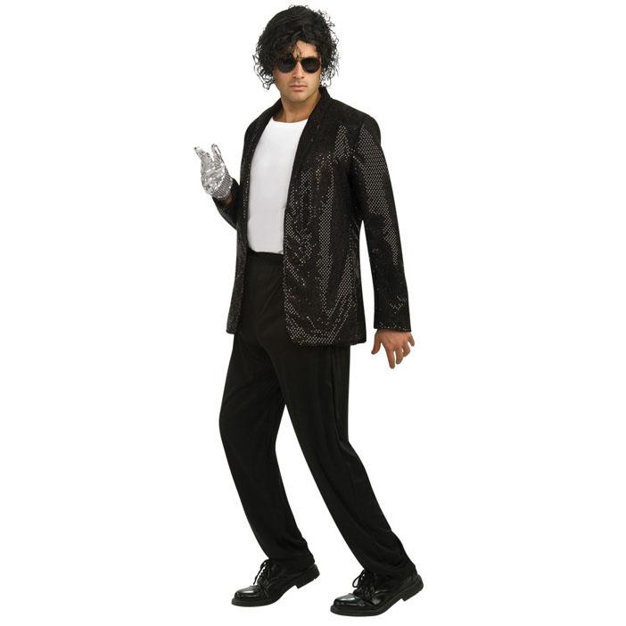 マイケルジャクソン 衣装 コスチューム 大人 男性 仮装 コスプレ ビリージーン ジャケット スパンコール 黒 ダンス衣装