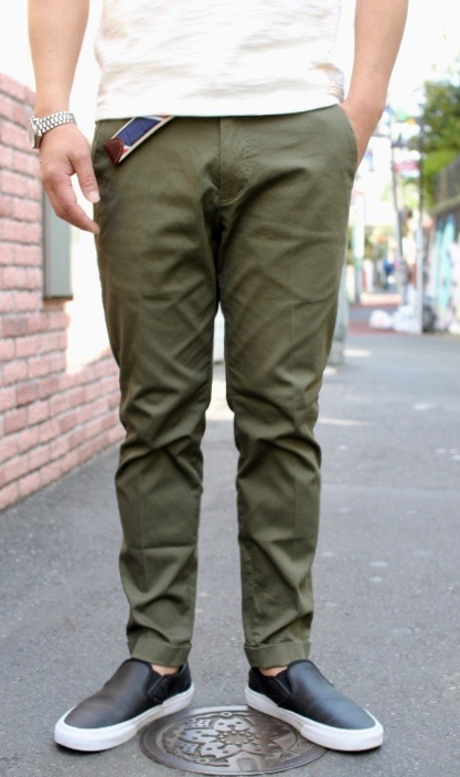 CONTRIVANCE(コントライバンス)STRETCH PIQUE ANKLE TROUSERS (アンクル丈 ストレッチピケ トラウザース )2色展開(OLIVE,BLACK)【日本製 ハンドメイド】送料無料 少量再入荷!