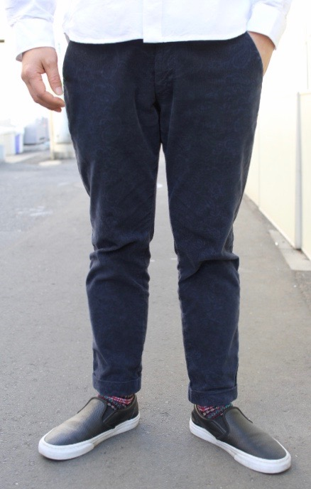 CONTRIVANCE(コントライバンス)STRETCH CORDUROY ANKLE TROUSERS IN PAISLEY(アンクル丈 ストレッチコーデュロイ トラウザース ペイズリー柄)【ストレッチコーデュロイ生地 日本縫製ハンドメイド】2色展開(NAVY,OLIVE) 2019年新作 送料無料