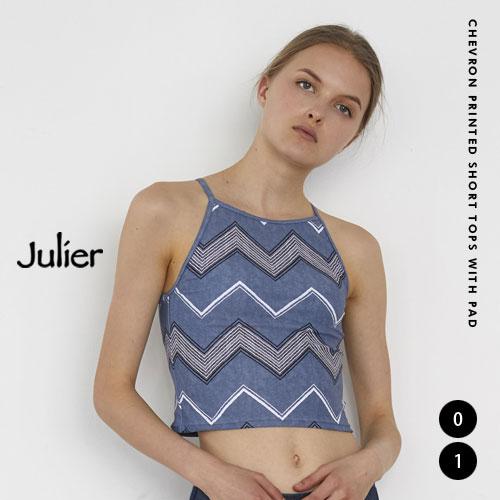 国内在庫 ¥5500 税込 以上送料無料 営業日12時まで当日発送 Julier ジュリエ 商い シェブロンプリントショートトップス 03 パット付き B1992JUB007 jl1911