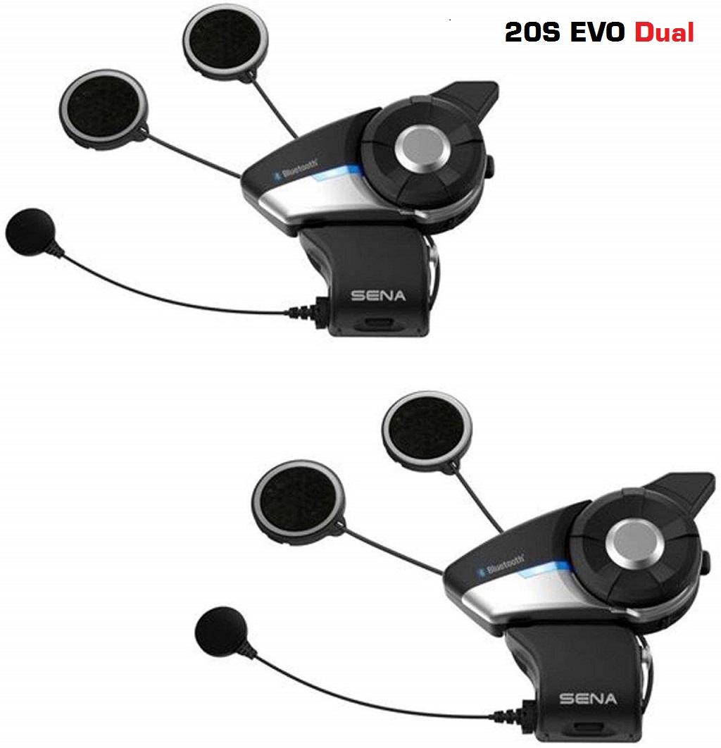 【2個セット】Sena 20S EVO オートバイ用 Bluetooth 4.1 通信システム 先進的インターコム HDオーディオ ヘッドセット シャークフィンアンテナ dual ブラック【日本正規品】