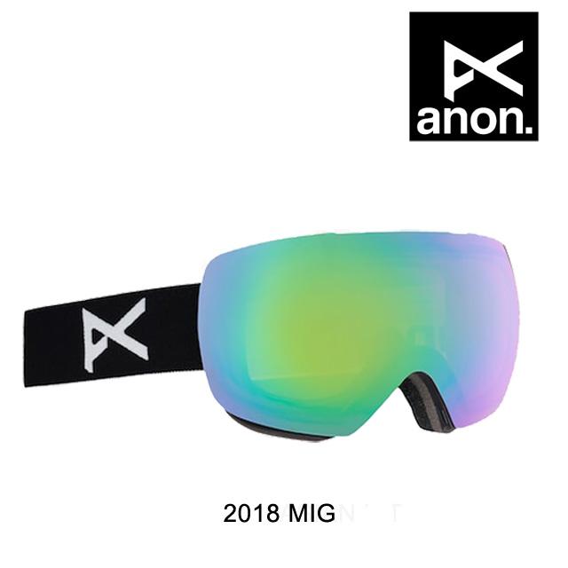 2018 BURTON バートン ANON アノン ゴーグル GOGGLE MIG BLACK/SONAR GREEN