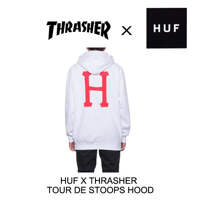 2016 HUF ハフ THRASHER スラッシャー コラボ フーディー TOUR DE STOOPS HOOD WHITE