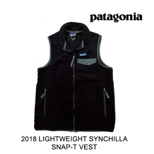 2018 PATAGONIA パタゴニア ベスト LIGHTWEIGHT SYNCHILLA SNAP-T VEST BFO BLACK W/FORGE GREY