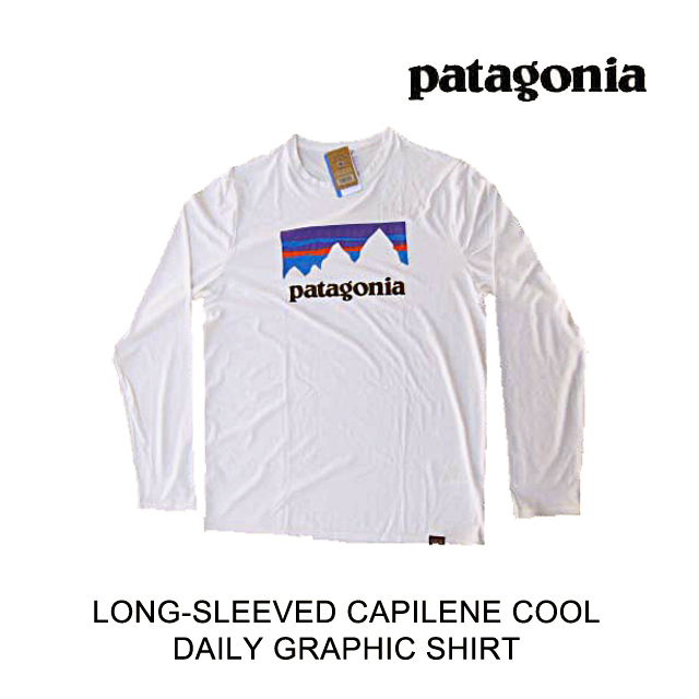PATAGONIA パタゴニア シャツ LONG-SLEEVED CAPILENE COOL DAILY GRAPHIC SHIRT STWI SHOP STICKER: WHITE 45190