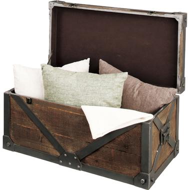 宝箱の様な見た目でわくわく♪トランクL☆重量感のあるデザインが目を引く☆収納 コンテナ アンティーク レトロ 木製 雑貨 アジアン おしゃれ 小物入れ