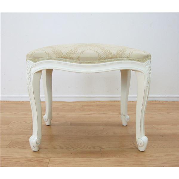 アンティーク調猫足スツール/腰掛椅子 【ホワイト】 木製 『フランシスカ』 高さ45cm 【完成品】