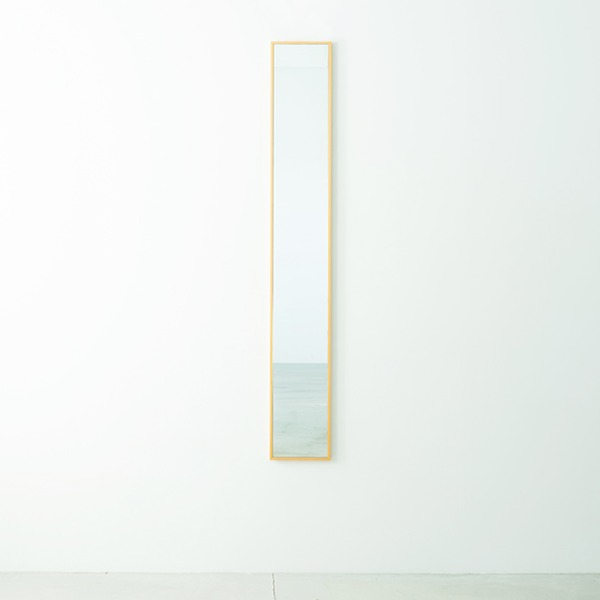 細枠ウォールミラー 幅22cm(ナチュラル) 天然木/姿見鏡/スリム/高級感/木製/飛散防止加工/壁掛け/北欧風/日本製/完成品/NK-5
