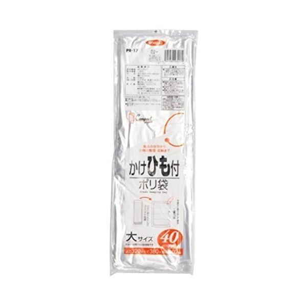 かけひも付ポリ袋(大)40枚入02LLD透明PR17 【(80袋×5ケース)合計400袋セット】 38-358
