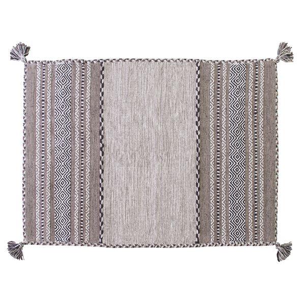 シェニールラグマット/絨毯 【130cm×90cm グレー】 長方形 コットン製 TTR-102GY