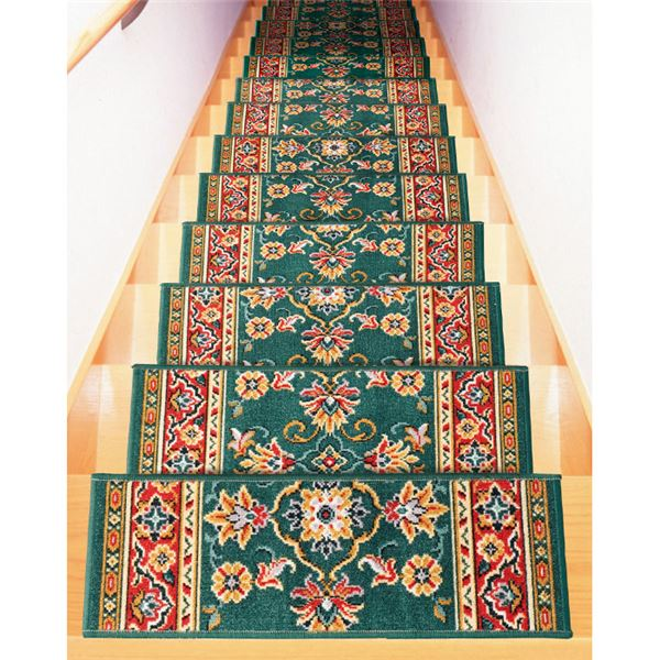 ベルギー製 階段マット(はつ油・はっ水加工) 【13枚組】 グリーン