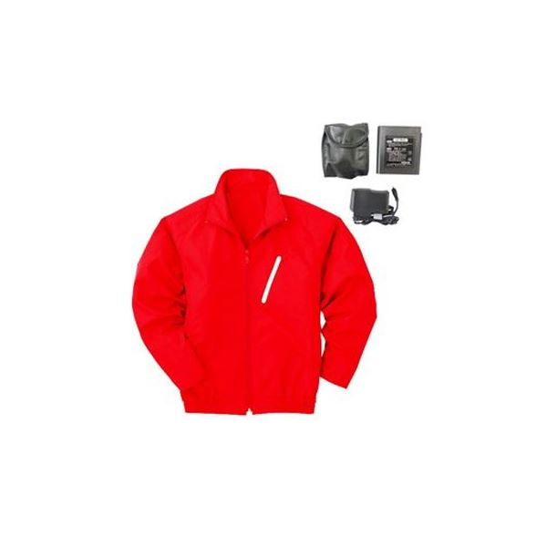 ポリエステル製 長袖 空調服/作業着 【ファンカラー:グレー カラー:レッド M】 リチウムバッテリー付き LIPRO2 KU90510