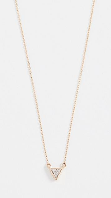 14k Super Tiny Solid Pave Triangle Necklace レディース
