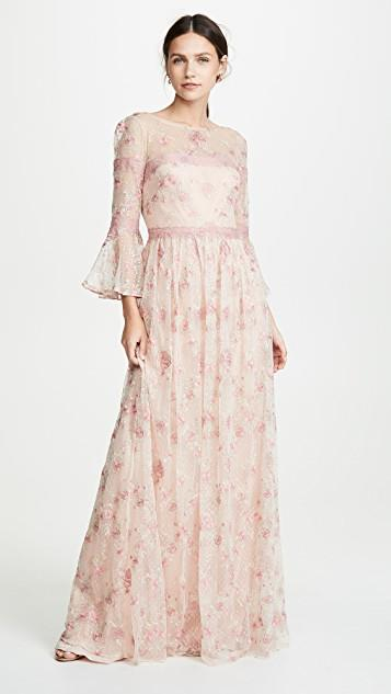 Flounce A-Line Sleeve Embroidered A-Line gown レディース gown レディース, あったらいーな本舗:500a5142 --- officewill.xsrv.jp