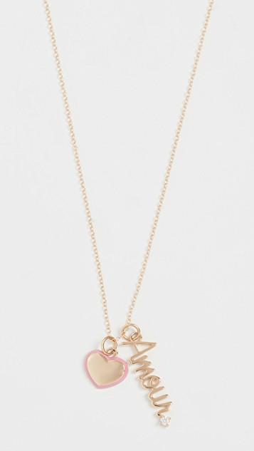 14k Puffy Heart & Amour Charm Necklace レディース