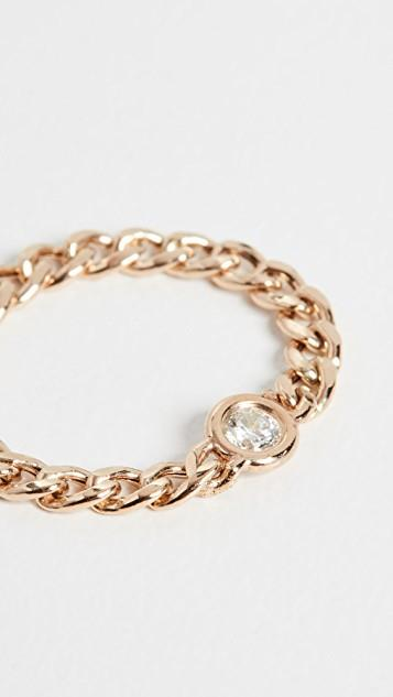 14k Gold Small Curb Chain Ring レディース