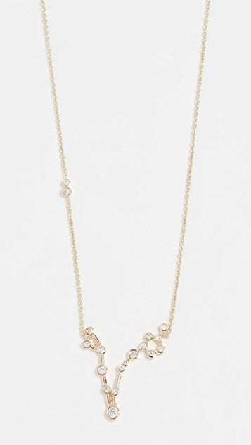 14k Gold Pisces Necklace with White Diamonds レディース