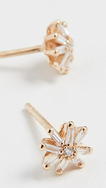 18k Yellow Gold Small Starburst Stud Earrings レディース