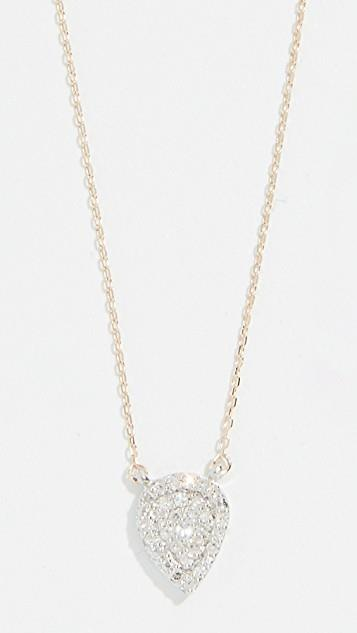 14k Gold Solid Pave Teardrop Necklace レディース