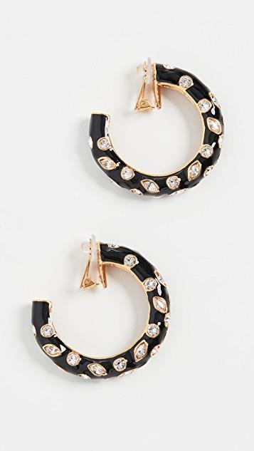 Large Metal Hoops with Crystals レディース