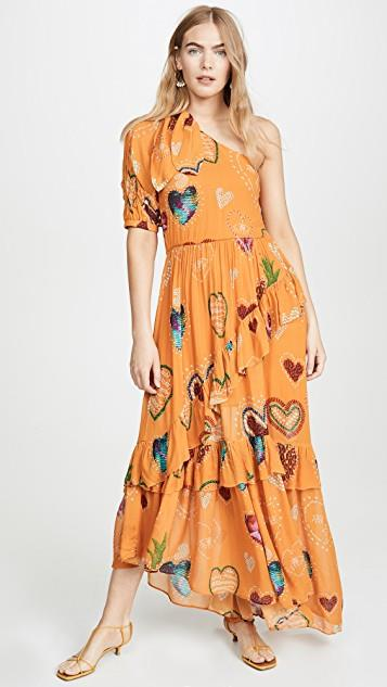 Yellow Hearts One Shoulder Dress レディース