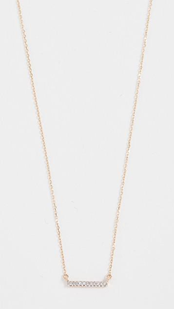 14k Gold Pave Bar Necklace レディース
