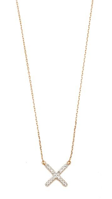 14k Gold Pave X Necklace レディース