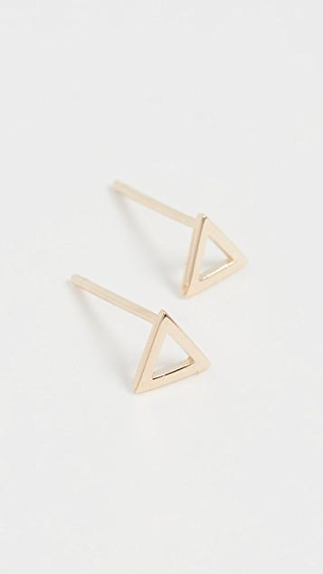 14k Mini Triangle Studs レディース