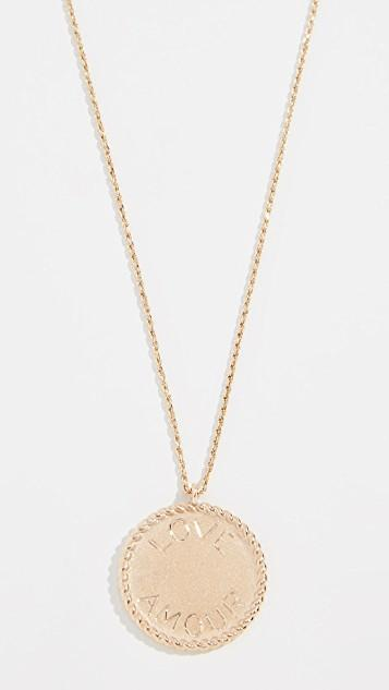 14k Imperial Disc Love Amour Necklace レディース