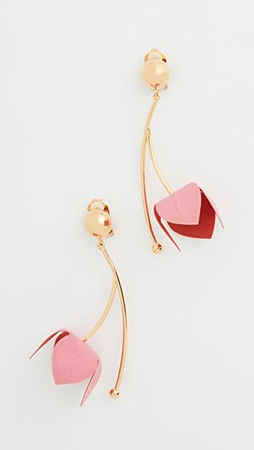 Fabric and Strass Earrings レディース