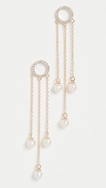 Pearl Circle Tassel Earrings レディース