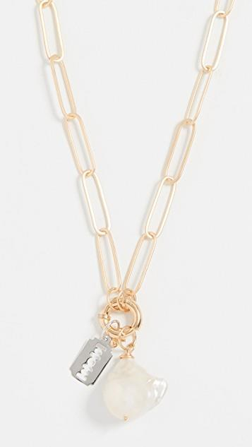Chain Cultured Pearl Razor Necklace レディース