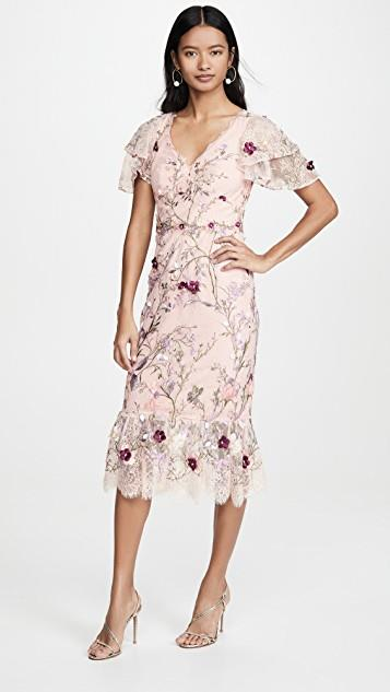 Embroidered Lace Cocktail Dress レディース