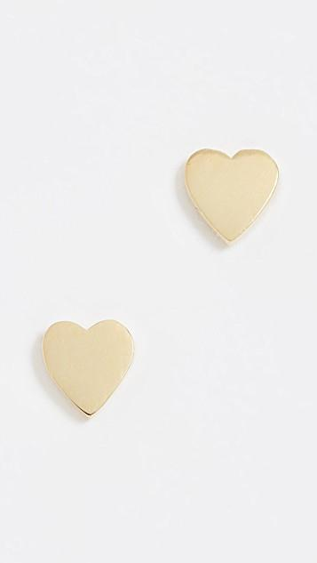 18k Gold Heart Stud Earrings レディース