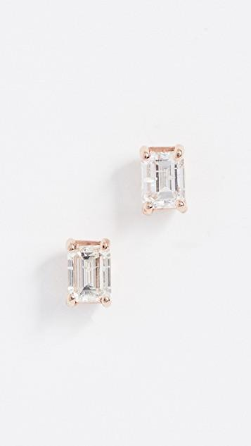 18K Large Solitaire Emerald Cut Diamond Earrings レディース