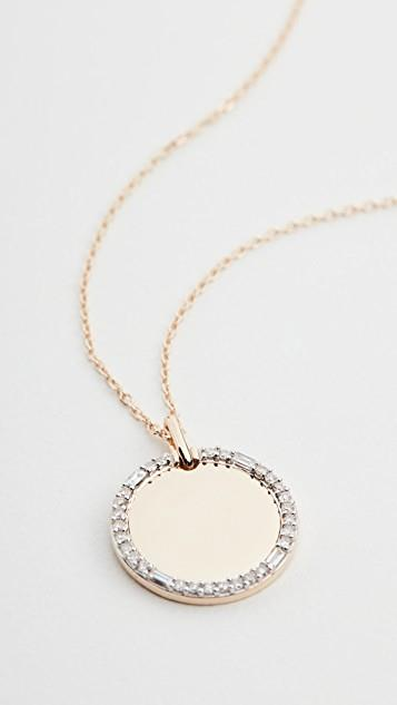 14k Round Pave + Baguette Dog Tag Necklace レディース