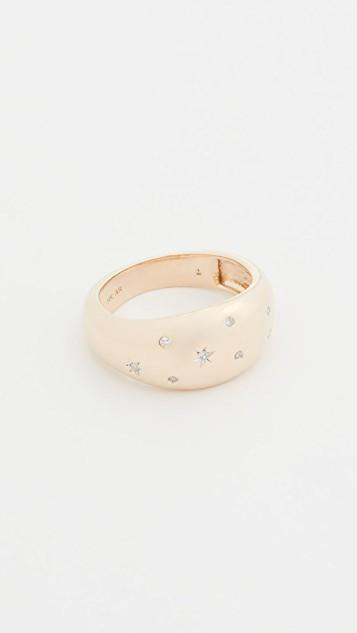 14k Celestial Diamonds Large Half Dome Ring レディース