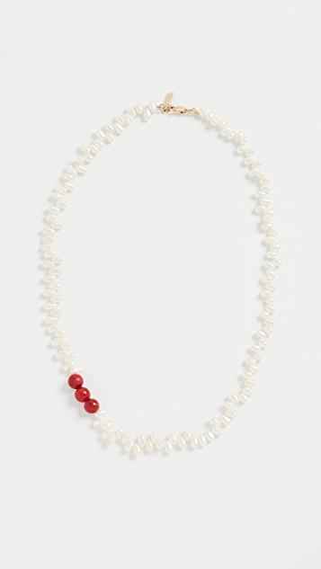 Coral & Pearl Necklace レディース