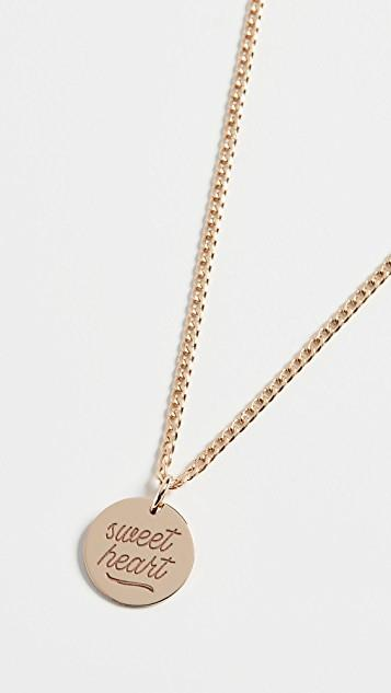14k Gold Small Disc Sweet Heart Necklace レディース