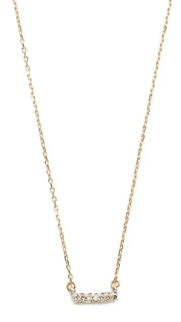 Super Tiny 14k Gold Pave Bar Necklace レディース