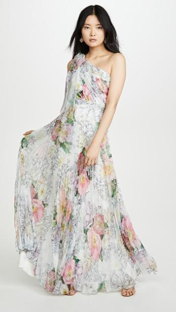 One Shoulder Chiffon Pleated Gown レディース