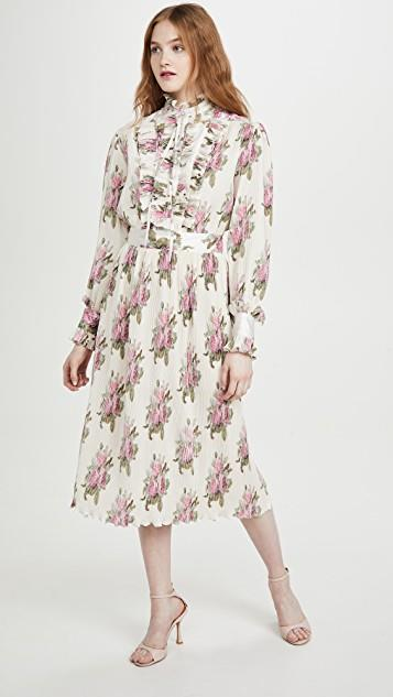 Printed Light Satin Length Dress レディース