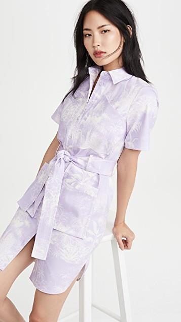 Belted Shirt Dress In Printed Twill レディース