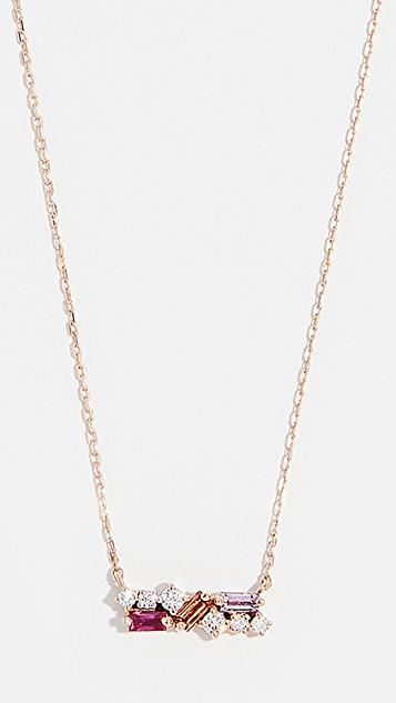 18k Rose Gold Sapphire Baguettes Necklace レディース