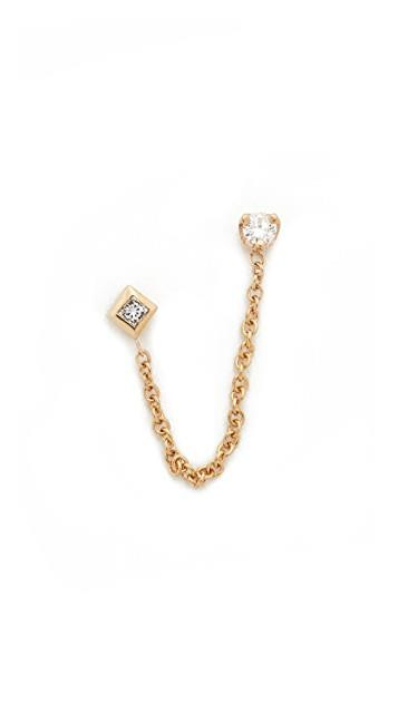 14k Gold Paris Double Chain Stud Earrings レディース