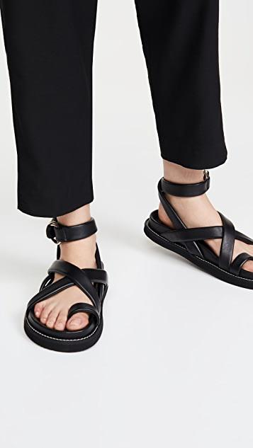Thin Leather Wrap Sandals レディース