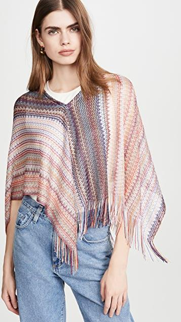 Triangle Poncho with Fringes レディース